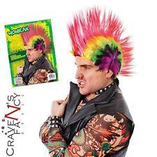 Multi Coloured Punk Mohawk Wig Mohican 80s Rocker Fancy Dress Accessory New