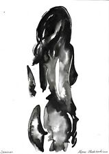 original drawing A3 224BA samovar watercolor grisaille female nude Signed 2020