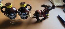 Vintage Little Brown Jug Salt & Pepper Pulled By Donkey Made in Japan