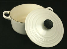 LE CREUSET Dutch Oven #18 Pot Pan w/Lid White Enamel Cast Iron 2 QT