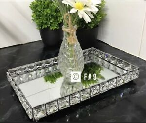 New 30x20cm Rectangular Mirror Jewelled Candle Plate Tray Home Decor Gift