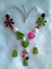 CHRISTMAS DECORATION NECKLACE AND EARRINGS SET-LIGHT UP THE HOLIDAYS WITH FUN