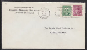 Canada Sc 249, 251 on 1943 Canadian Natl Railways Cover