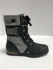 Sorel Major Carly Snow Boot, Women's Size 6M, Black/Grey Zip Up Bootie, Casual
