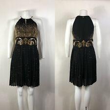 Rare Vtg Versace Collection Black Gold Studded Dress S