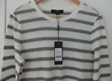 Saba Long-Sleeved Ribbed Tee; Sz L: BNWT; Ivory &Grey; Lightweight Classy Style!