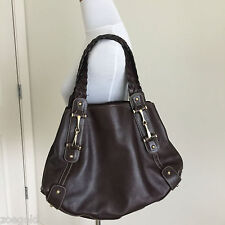 GUCCI PELHAM DARK BROWN LEATHER BRAIDED STRAPS HORSE BIT HOBO SHOULDER BAG $1595