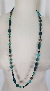 Blue Green Lucite Resin Plastic Beads Single Strand BEADED NECKLACE Turquoise