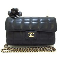 Auth CHANEL Chocolate Bar/Camellia A16780 Black Lambskin Womens Shoulder Bag