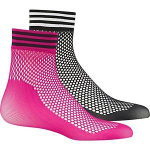Adidas Mesh Trainer Socks Fishnet Stockings Ladies Girl Retro Pink Black 36-42