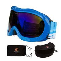 Snowboard Ski Goggles Blue Double-Lens Anti UV Anti-Collision Storage Bag