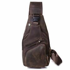 Mens Real Leather Fashion Crossbody Sling Messenger Shoulder Chest Bag