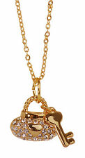 Swarovski Elements Crystal Liberty Lock & Key Pendant Necklace Gold Plated 7205y