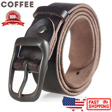 Mens Classic Metal Buckle Handcrafted Distressed Italian Full Grain Leather Belt