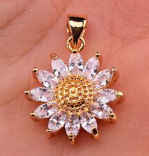 18K Gold Filled - 3D SunFlower Cat Eye Clear Topaz Zircon Party Gemstone Pendant