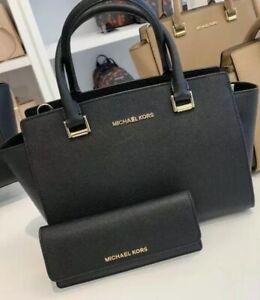 Michael Kors Saffiano Leather Selma MDTOP ZIP SATCHEL BAG BLACK+TRIFOLD WALLET