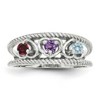 Birthstone Heart Ring 1- 4 Stones Sterling Silver, Mother's Day Jewelry Ring