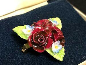 Vintage COALPORT Fine Bone China FLORAL BROOCH Red Roses US Seller