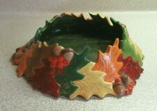 Homemade Hand Painted Ceramic Fall Thanksgiving Candle Holder Dish Leaves Acorns