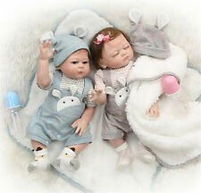 Reborn Twins Dolls Boy&Girl Newborn Bebe Silicone Full Body Twins Reborn Dolls