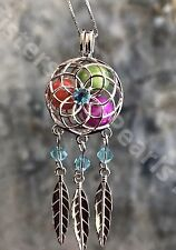Dreamcatcher Blue CZ Sterling Silver Cage Pendant For Pearl Akoya Oyster  925
