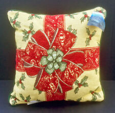 "Gifts of The Season Christmas Bow & Holly 17"" Tapestry Square Pillow"