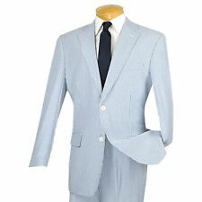 VINCI Men's Blue Striped Seersucker 2 Button Classic Fit Suit 100% Cotton NEW