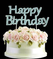 Diamantes de imitación Cumpleaños Cake Topper Azul Feliz Cumpleaños Aniversario Gemas Decoración