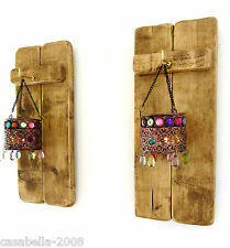2X RUSTIC PALLET WOOD SCONCE'S LED TEA LIGHT CANDLE HOLDERS & JEWELED LANTERNS