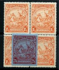 Barbados 1925 Series 11/2d perf 14 Block MNH, also 2/6 MM. Cat £90