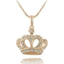 Women Shining Crown Rhinestone Gold Plated Pendant Chain Clavicle Necklace Gift
