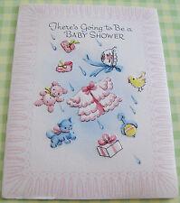 Unused Vtg Baby Shower Invitation Raining Bear, Kitten, Duck, Rattle, Outfit