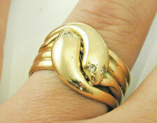 Diamante Anillo serpiente antigua victoriana Antique Victorian doble de oro 18ct tamaño 1880s 19.7g W