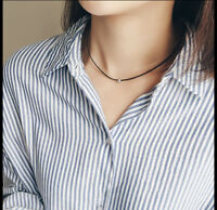 Retro Black Leather Choker S925 Sterling Silver Bead Gothic Grunge Chains Gifts