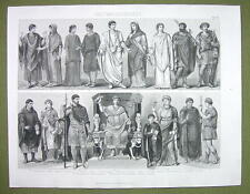 COSTUME of Romans Toga Dress Women Lictor Peasant etc - 1870s Engraving Print