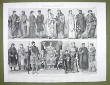 COSTUME of Romans Toga Dress Women Lictor Peasant etc - 1870s Engraving Print