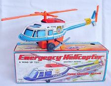 Yone Japan BELL 206 B3 POLICE Highway Patrol HELICOPTER Wind-Up Tin Toy MIB`76!