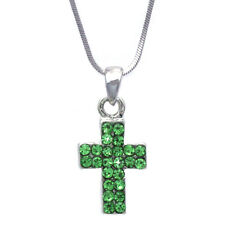 Christian Catholic Small Lime Green Cross Necklace Girl Christmas Jewelry