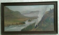 PAINTING MOUNTAIN RIVER RAILROAD OLD STEAM TRAIN LEONARD LOPP PACIFIC NORTHWEST