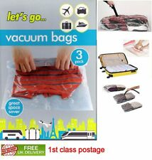 Space Saving Vacuum Travel Storage Clothes Bags  Hand Roll 3 Pack 38cm x 54cm