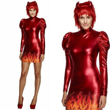 Adults Ladies Sexy Devil Satan Demon Halloween Fancy Dress Costume Outfit Horns