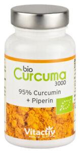 Vitactiv Curcuma 3000, 60 Kapseln Bio Kurkuma ayurvedisch hochdosiert Curcumin