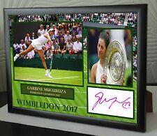 Garbine Muguruza Wimbledon 2017 Framed Canvas Tribute Print Signed