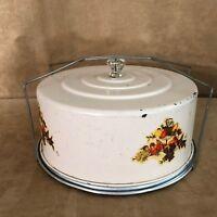 Vintage Cake Carrier metal cornucopia server tin transport storage handle