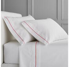 WhiteColor400ThreadCountSateenBed Twin XL Size Sheet Set Blood Red Marrow Border