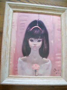 Igor Pantuhoff Lithograph Oil Painting Portrait 1960's Big Eyed MOD Girl Vintage