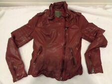 MUUBAA CLINTON maroon distressed goat leather jacket SZ 2