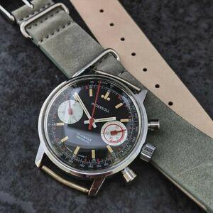 Superb Vintage Gents Ingersoll Reverse Panda Chronograph Wristwatch Valjoux 7733