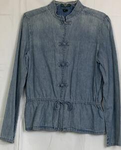 Lauren Jeans Co. Women's Mandarin Collar Frog Buttons Denim Shirt Tie ~ Size M
