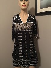 MUST SEE!!  NIKHAAR BLACK/IVORY GOLD BEADED DRESS FROM INDIA!!  SZ L